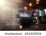 abstract blur hot black coffee... | Shutterstock . vector #691420936