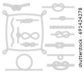 figured rope frames  knots ... | Shutterstock .eps vector #691424278