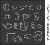 set of tableware for tea and...   Shutterstock .eps vector #691426990