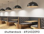 Gray Cafe Interior With Soft...