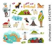 iceland landmarks vector icons... | Shutterstock .eps vector #691437844