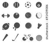 sport icons set vector | Shutterstock .eps vector #691439086