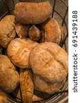 many round breads   Shutterstock . vector #691439188