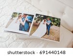 pages of wedding photobook or... | Shutterstock . vector #691440148