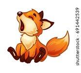 cute cub of a fox yawns. vector ... | Shutterstock .eps vector #691442539