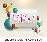 win sign with colour dynamic... | Shutterstock .eps vector #691443604
