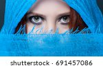 sensual eyes of mysterious... | Shutterstock . vector #691457086