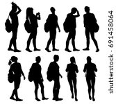 set of silhouettes young woman... | Shutterstock .eps vector #691458064