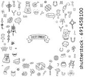 hand drawn doodle lucky symbols ... | Shutterstock .eps vector #691458100