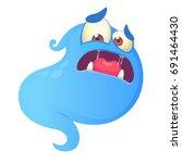 scared blue monster cartoon.... | Shutterstock .eps vector #691464430