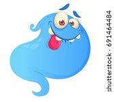 silly cartoon ghost. vector... | Shutterstock .eps vector #691464484