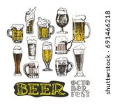 october fest. vector  beer... | Shutterstock .eps vector #691466218