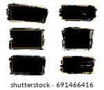 vector black paint  ink brush... | Shutterstock .eps vector #691466416