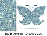 decorative butterfly and lace... | Shutterstock .eps vector #691468120