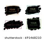 grunge set of black paint  ink... | Shutterstock .eps vector #691468210
