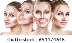 collage of woman's faces with... | Shutterstock . vector #691474648