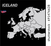 europe map with iceland flag... | Shutterstock .eps vector #691476628