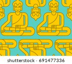buddha golden statue pattern.... | Shutterstock .eps vector #691477336