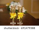 wedding glasses | Shutterstock . vector #691479388
