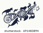 Evolution Tattoo. Dna Concept....