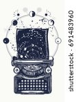 typewriter tattoo. symbol of...   Shutterstock .eps vector #691483960