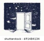 open door tattoo. symbol of... | Shutterstock .eps vector #691484134
