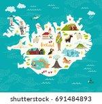 cartoon map of iceland for kid... | Shutterstock .eps vector #691484893