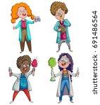 children scientists set.... | Shutterstock .eps vector #691486564