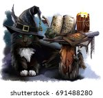 Stock photo magical black cat watercolor painting 691488280