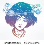 portriat of cute girl face with ... | Shutterstock .eps vector #691488598