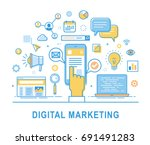 digital marketing. social... | Shutterstock .eps vector #691491283