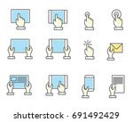 fingers and hands touch screen... | Shutterstock .eps vector #691492429