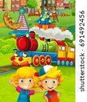 cartoon train scene with happy... | Shutterstock . vector #691492456