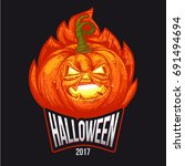halloween party lettering logo... | Shutterstock .eps vector #691494694
