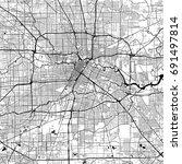 houston monochrome vector map.... | Shutterstock .eps vector #691497814