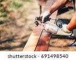 construction worker using paint ...   Shutterstock . vector #691498540