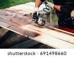 close up details of spray gun... | Shutterstock . vector #691498660