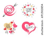 hand drawn hearts on white... | Shutterstock .eps vector #691502854