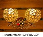 close up on beige lamp in... | Shutterstock . vector #691507969