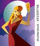beautiful red dress woman... | Shutterstock .eps vector #691509748