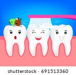 happy cartoon character tooth... | Shutterstock .eps vector #691513360