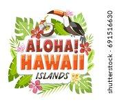 aloha hawaii sticker header... | Shutterstock .eps vector #691516630