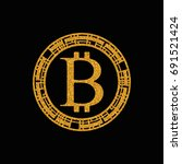 gold bitcoin coin logo design.... | Shutterstock .eps vector #691521424