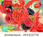 Forest Fruit. Mixed Berry. 3d...