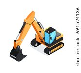 isometric excavator isolated on ... | Shutterstock .eps vector #691524136