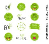 vector eco  bio green logo or... | Shutterstock .eps vector #691524958