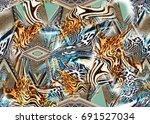 texture of print fabric ... | Shutterstock . vector #691527034