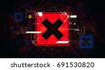 tech futuristic red cross... | Shutterstock .eps vector #691530820