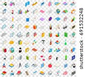 100 school and education icons... | Shutterstock .eps vector #691532248