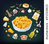 macaroni and cheese dish with... | Shutterstock .eps vector #691533823